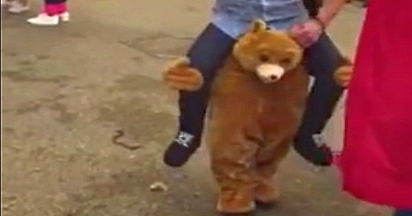 Bärenkostüm – Bär trägt Mann auf den Schultern