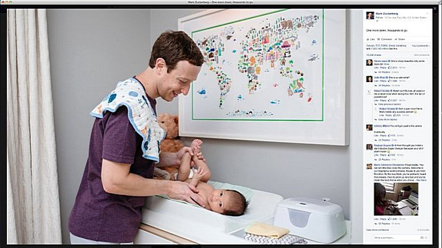 Mark Zuckerberg with his daughter Max in an image Zuckerberg posted on his Facebook page
