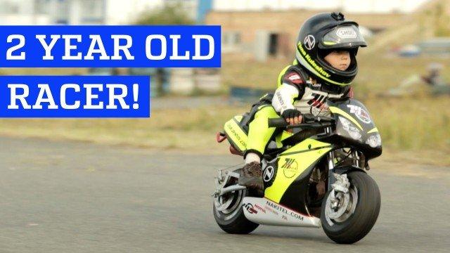 2 jähriger Junge fährt Motorradrennen