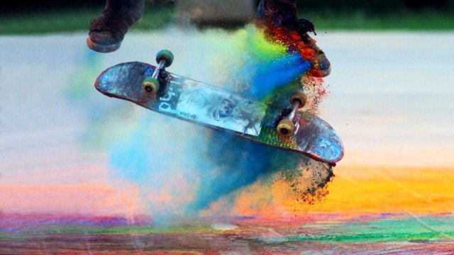 Explosions of Color: Skateboarding in Slow Motion