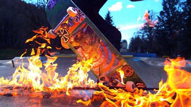 Skateboarding on FIRE in the RAIN