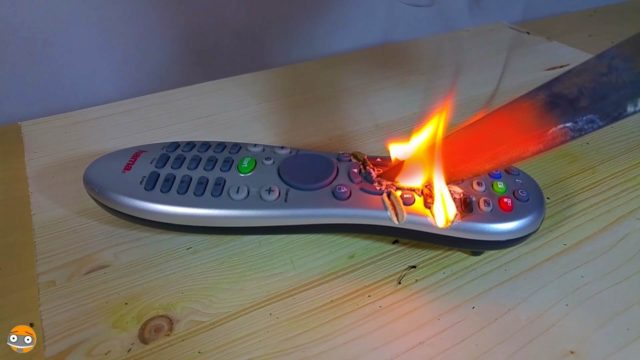 Glowing 1000 degree KNIFE VS TV REMOTE CONTROL