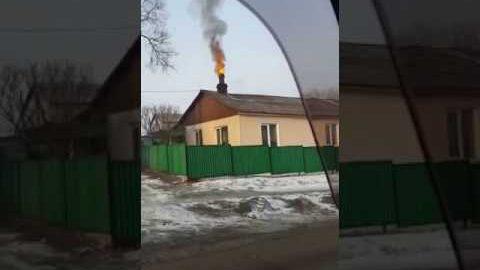 Feuer aus russischem Schornstein